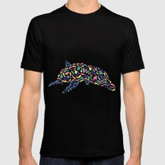 Abstract Dolphin MEDIUM Mens Fitted Tee Black
