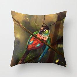 Crimson Bellied Conure Throw Pillow