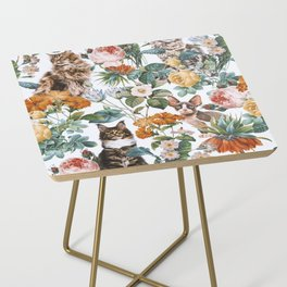 Cat and Floral Pattern III Side Table