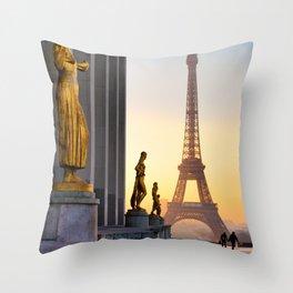 Sunrise in Paris France Throw Pillow