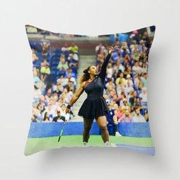 Serena Williams Serving Throw Pillow