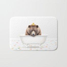 Big Brown Bear with Rubber Ducky in Vintage Bathtub Bath Mat