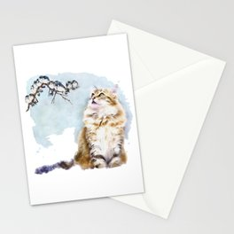 Cute Cat on the Lurk Watercolor Painting Stationery Cards