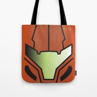 metroid Tote Bags featuring Metroid Samus by JAGraphic