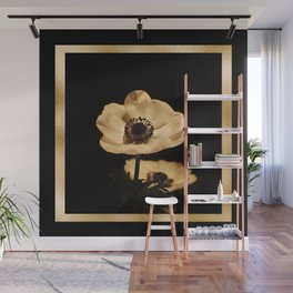 Anemone Flowers, Black with Golden Frame, Floral Nature Photography Wall Mural