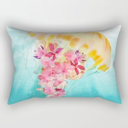 Jellyfish with Flowers Rectangular Pillow