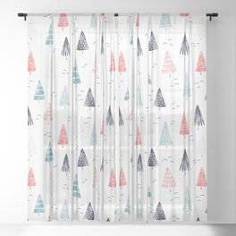 Watercolor Christmas Trees Blue Red Sheer Curtain