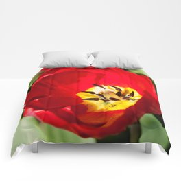 Inside of a Tulip Photography Print Comforters
