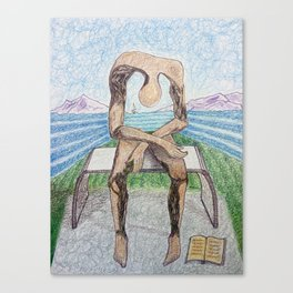 fan art: melancholy sculpture with a dropped open book and sea view Canvas Print