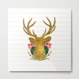 Floral Gold Deer Metal Print