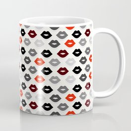 Retro Lips - Red, Grey and Black Pattern Coffee Mug