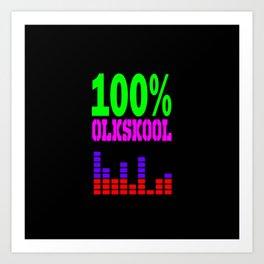 100% oldskool music logo Art Print