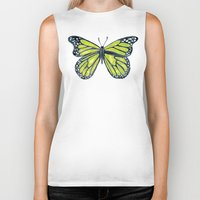 lime green Biker Tanks featuring Lime Butterfly by Cat Coquillette