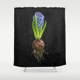 Blue Hyacinth Hydroponics (tryptic 1/3) Shower Curtain