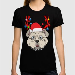 86fa6cf2b Funny Bulldogs with Antlers Christmas XMAS print T-shirt