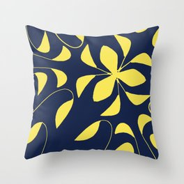 Leafy Vines Yellow and Navy Blue Throw Pillow