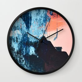Delight: a vibrant abstract painting in blues and coral by Alyssa Hamilton Art Wall Clock