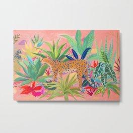 Leopard in Succulent Garden Metal Print
