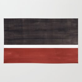 Colorful Bright Minimalist Rothko Color Field Midcentury Modern Brown Black Square Vintage Pop Art Rug