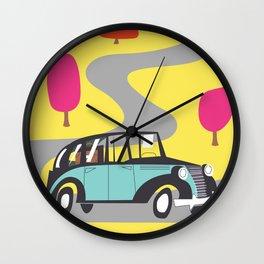 vintage car cartoon Wall Clock