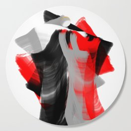dancing abstract red white black grey digital art Cutting Board