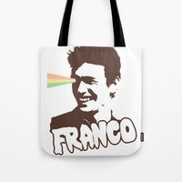 james franco Tote Bags featuring Magic Franco by One Giant Eye