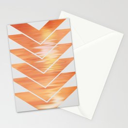 NL 2 Coral Sunset Chevron on Gray Stationery Cards