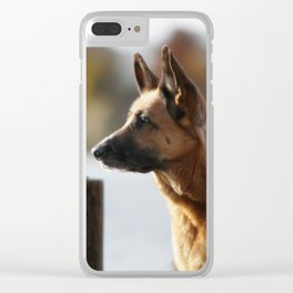 Working German Shepherd at a lake Clear iPhone Case