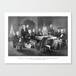 President Lincoln And His Cabinet, With Lieut. Genl. Scott Canvas Print