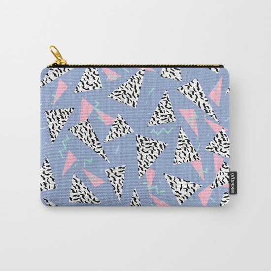 Trendy triangles geometric pop pattern pink black and white minimal gifts Carry-All Pouch