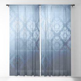 """""""Navy blue Damask Pattern"""" Sheer Curtain"""
