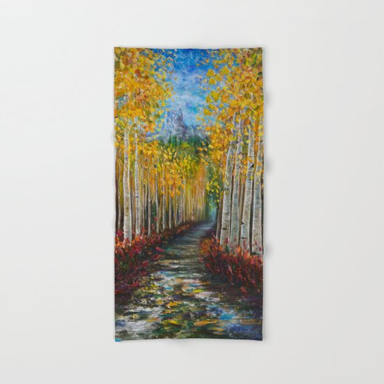 Nelly Creek Painting Of Uncompahgre National Forest Hand Bath Towel By Olenaart Society6