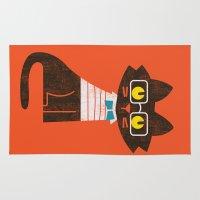preppy Area & Throw Rugs featuring Fitz - Preppy cat by Picomodi