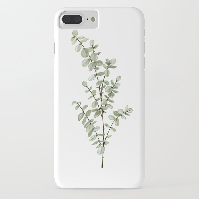 Baby Blue Eucalyptus Watercolor Painting iPhone Case