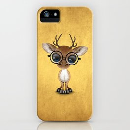 Cute Curious Nerdy Baby Deer Wearing Glasses on Yellow iPhone Case