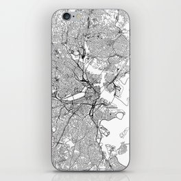 Boston White Map iPhone Skin