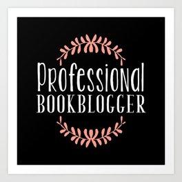 Professional Bookblogger - Black w Pink Art Print