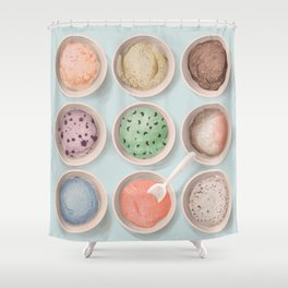 Ice Cream Flavors Giclee Art Print Shower Curtain
