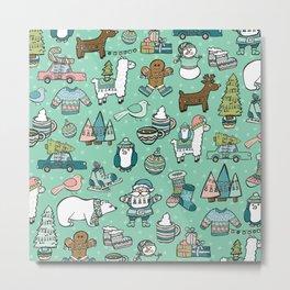 Christmas Time, Christmas Critter, Aqua Blue, Holly Jolly Holiday Pattern Metal Print