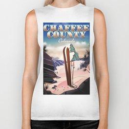 Chaffee County, Colorado, USA Vintage ski poster Biker Tank