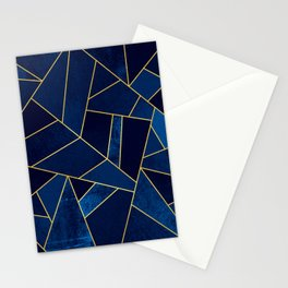 Blue stone with yellow lines Stationery Cards