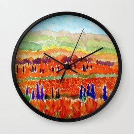 California Poppies Wall Clock