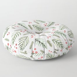 Christmas tree branches and berries - vintage Floor Pillow