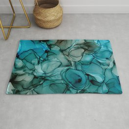 Blue Petals: Original Abstract Alcohol Ink Painting Rug
