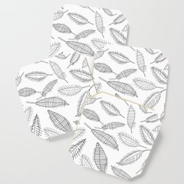 Feather Leaves in Black White Coaster