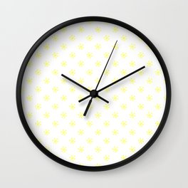 Electric Yellow on White Snowflakes Wall Clock