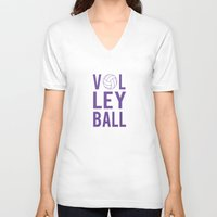 volleyball V-neck T-shirts featuring Volleyball (lavendar) by raineon