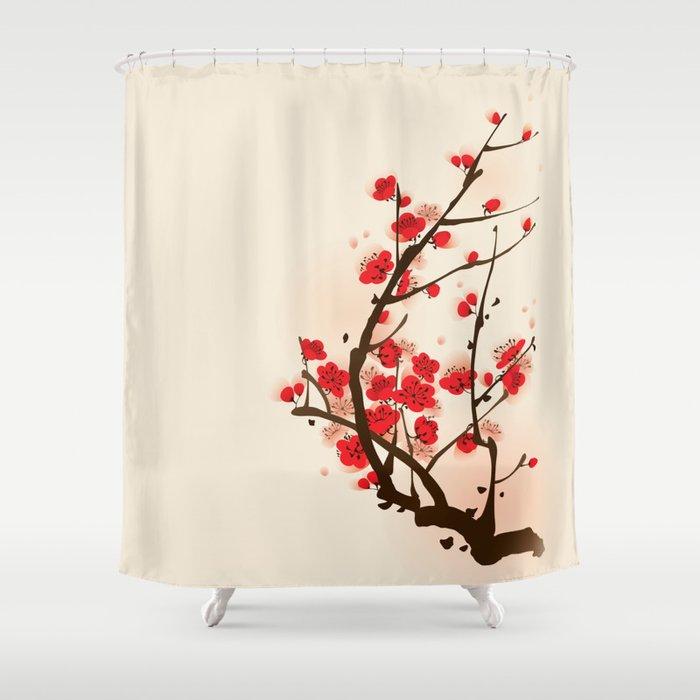 Oriental Plum Blossom In Spring 012 Shower Curtain
