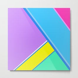 Happy Hues Modern Colorblock Pattern - Unicorns Frolic Metal Print
