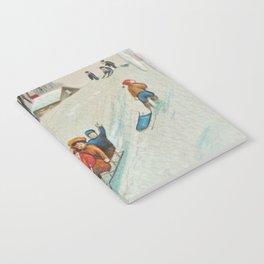 Happy vintage winter sledders Notebook